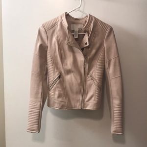 Bar III Pale Pink Faux Leather Jacket
